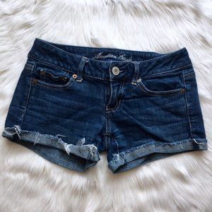 American Eagle Medium Wash Roll Cuff Denim Shorts